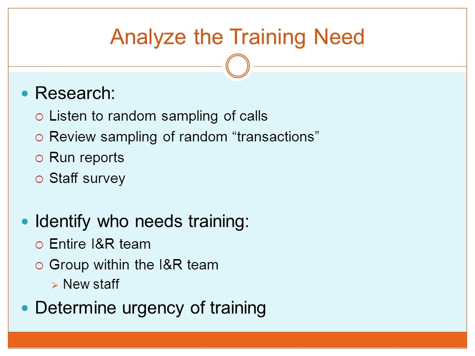 Analyze the Training Need Research: Listen to random sampling of calls Review sampling of random transactions Run reports Staff survey Identify who ne