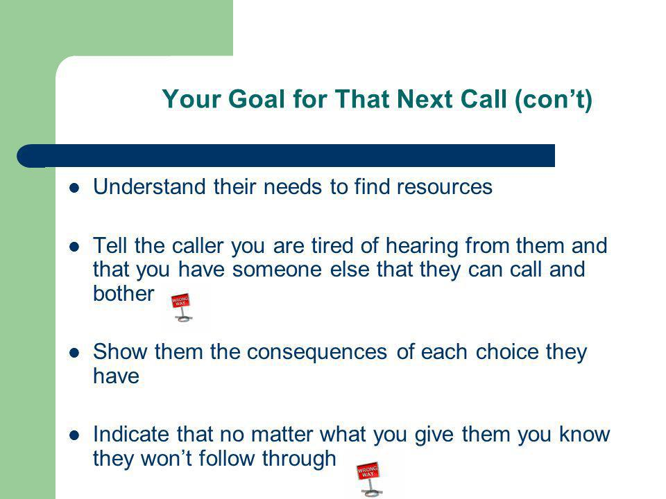 Your Goal for That Next Call (cont) Understand their needs to find resources Tell the caller you are tired of hearing from them and that you have someone else that they can call and bother Show them the consequences of each choice they have Indicate that no matter what you give them you know they wont follow through