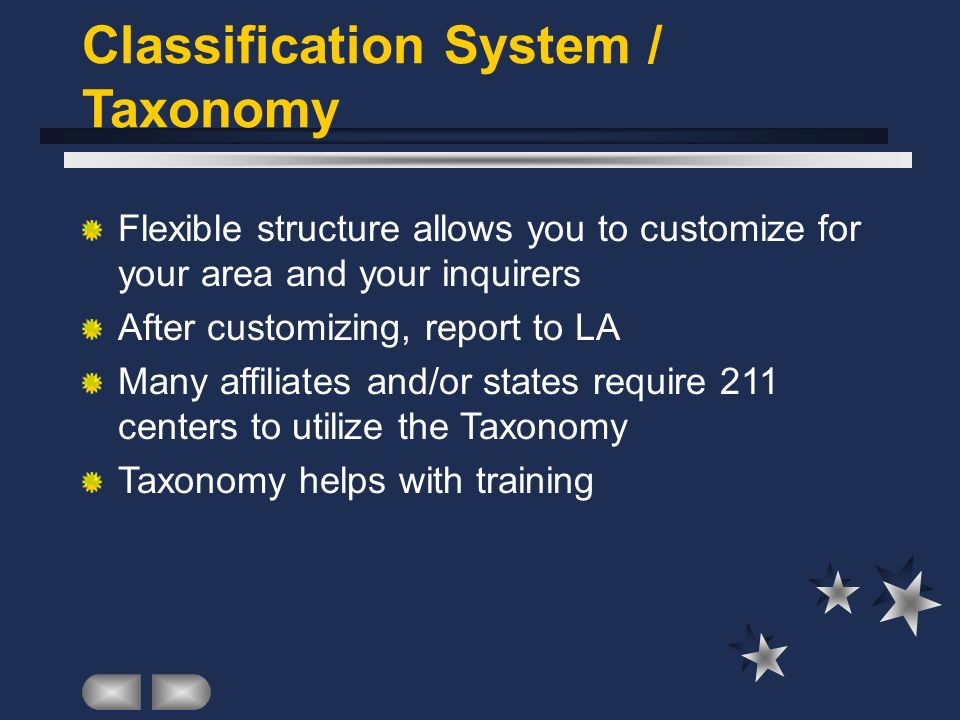 Classification System / Taxonomy Flexible structure allows you to customize for your area and your inquirers After customizing, report to LA Many affiliates and/or states require 211 centers to utilize the Taxonomy Taxonomy helps with training