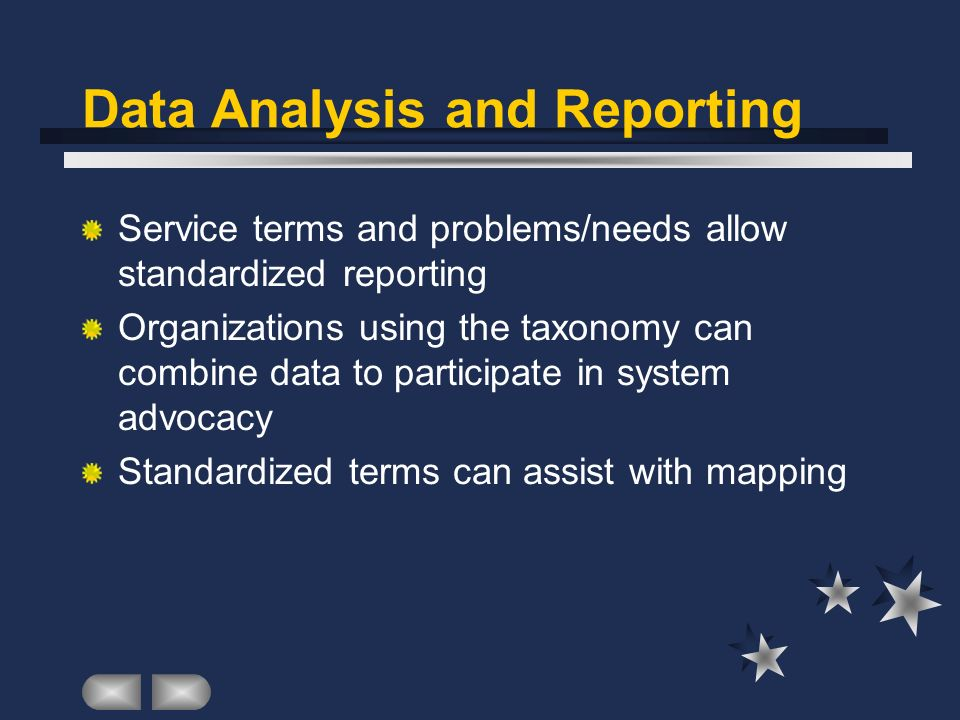 Data Analysis and Reporting Service terms and problems/needs allow standardized reporting Organizations using the taxonomy can combine data to participate in system advocacy Standardized terms can assist with mapping