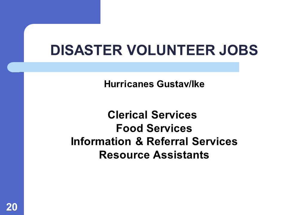 20 DISASTER VOLUNTEER JOBS Hurricanes Gustav/Ike Clerical Services Food Services Information & Referral Services Resource Assistants