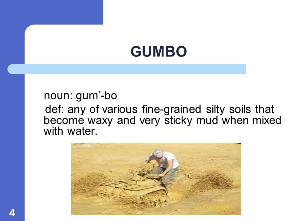 4 GUMBO noun: gum-bo def: any of various fine-grained silty soils that become waxy and very sticky mud when mixed with water.
