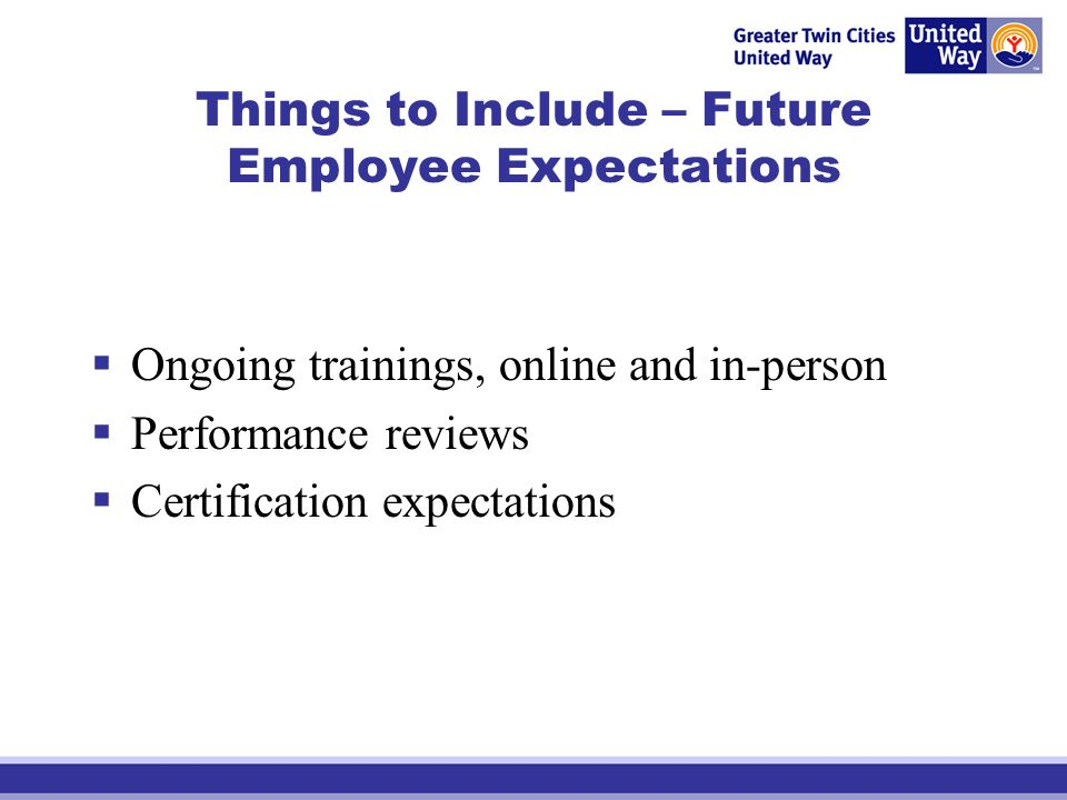 Things to Include – Future Employee Expectations Ongoing trainings, online and in-person Performance reviews Certification expectations