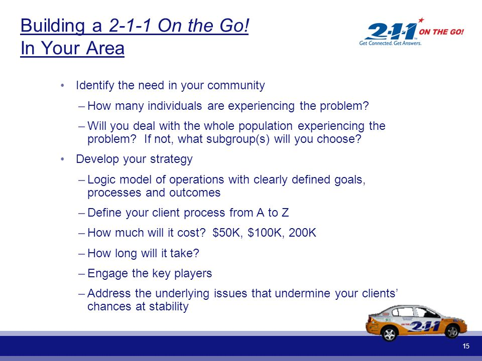 15 Building a 2-1-1 On the Go! In Your Area Identify the need in your community –How many individuals are experiencing the problem? –Will you deal wit