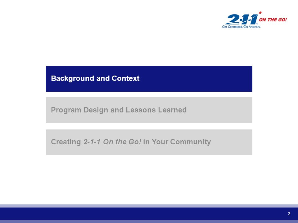 2 Background and Context Program Design and Lessons Learned Creating 2-1-1 On the Go! in Your Community
