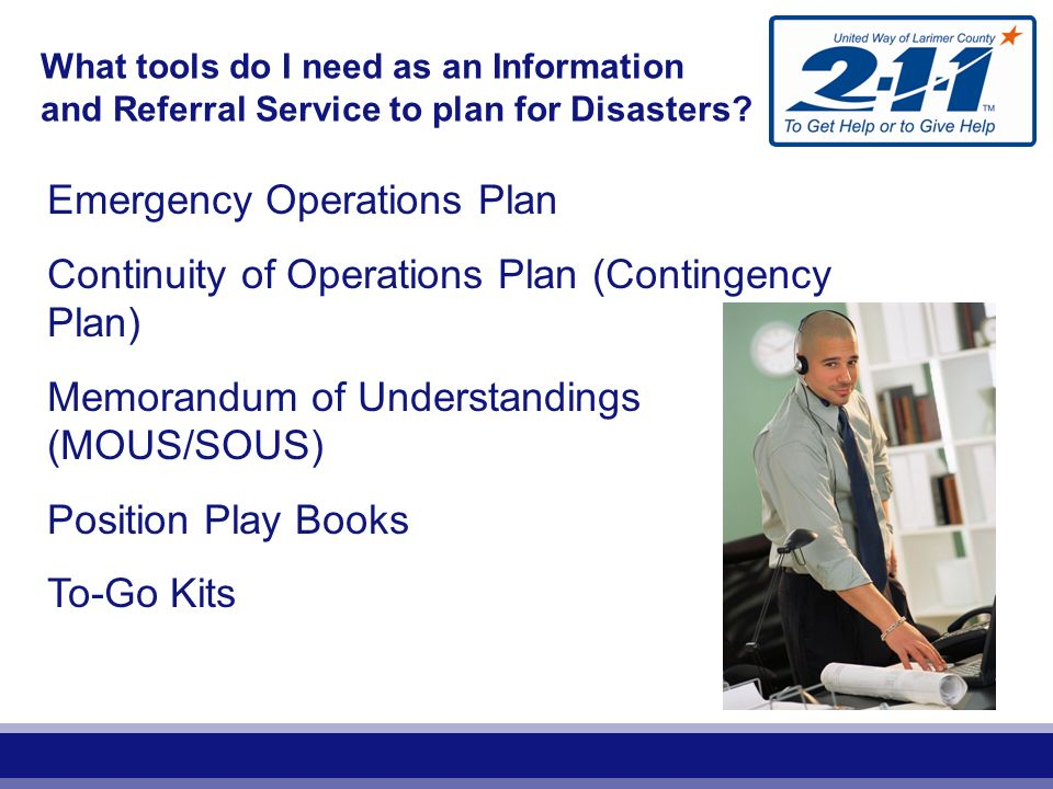 What tools do I need as an Information and Referral Service to plan for Disasters.