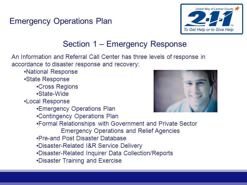 Planning Section Logistics Section Operations Section Emergency Call Specialists Volunteer Logistics Emergency Data Manager Volunteer Manager Volunteers Incident Commander Emergency Manager Safety Officer Public Information Officer Liaison Officer Finance Section Mental Health Specialists NIMS/ICS Organization Chart Information & Referral Call Center