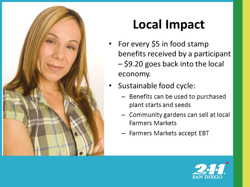 Local Impact For every $5 in food stamp benefits received by a participant – $9.20 goes back into the local economy.