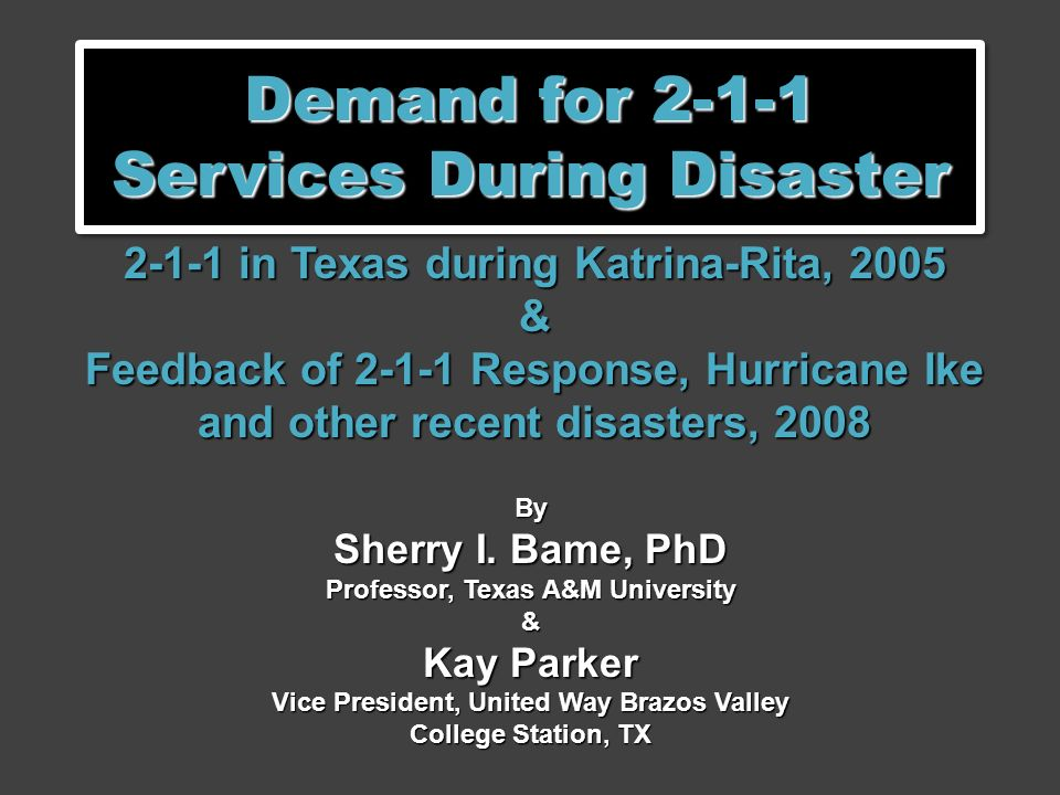 Demand for 2-1-1 Services During Disaster 2-1-1 in Texas during Katrina-Rita, 2005 & Feedback of 2-1-1 Response, Hurricane Ike and other recent disasters, 2008 By Sherry I.