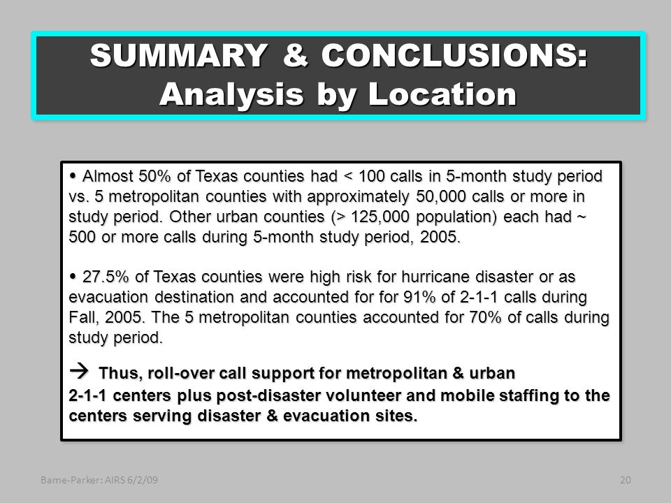 Bame-Parker: AIRS 6/2/0920 Almost 50% of Texas counties had 125,000 population) each had ~ 500 or more calls during 5-month study period, 2005.