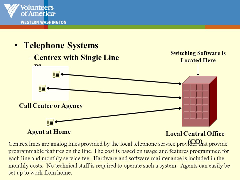 Centrex lines are analog lines provided by the local telephone service provider that provide programmable features on the line. The cost is based on u