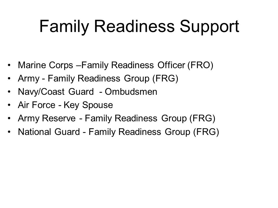 Family Readiness Support Marine Corps –Family Readiness Officer (FRO) Army - Family Readiness Group (FRG) Navy/Coast Guard - Ombudsmen Air Force - Key