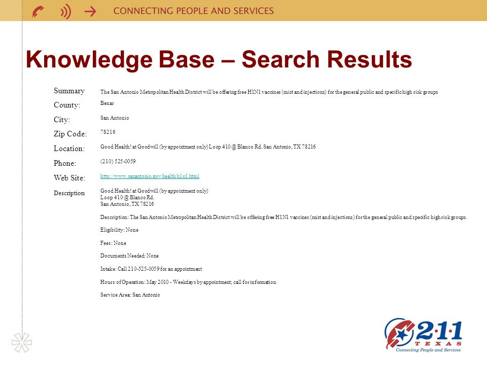 Knowledge Base – Search Results Article Details Summary The San Antonio Metropolitan Health District will be offering free H1N1 vaccines (mist and injections) for the general public and specific high risk groups County: Bexar City: San Antonio Zip Code: Location: Good Health.