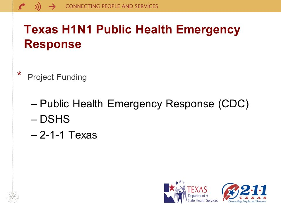 Texas H1N1 Public Health Emergency Response * Project Funding –Public Health Emergency Response (CDC) –DSHS –2-1-1 Texas