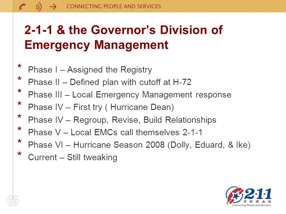 2-1-1 & the Governors Division of Emergency Management * Phase I – Assigned the Registry * Phase II – Defined plan with cutoff at H-72 * Phase III – Local Emergency Management response * Phase IV – First try ( Hurricane Dean) * Phase IV – Regroup, Revise, Build Relationships * Phase V – Local EMCs call themselves 2-1-1 * Phase VI – Hurricane Season 2008 (Dolly, Eduard, & Ike) * Current – Still tweaking