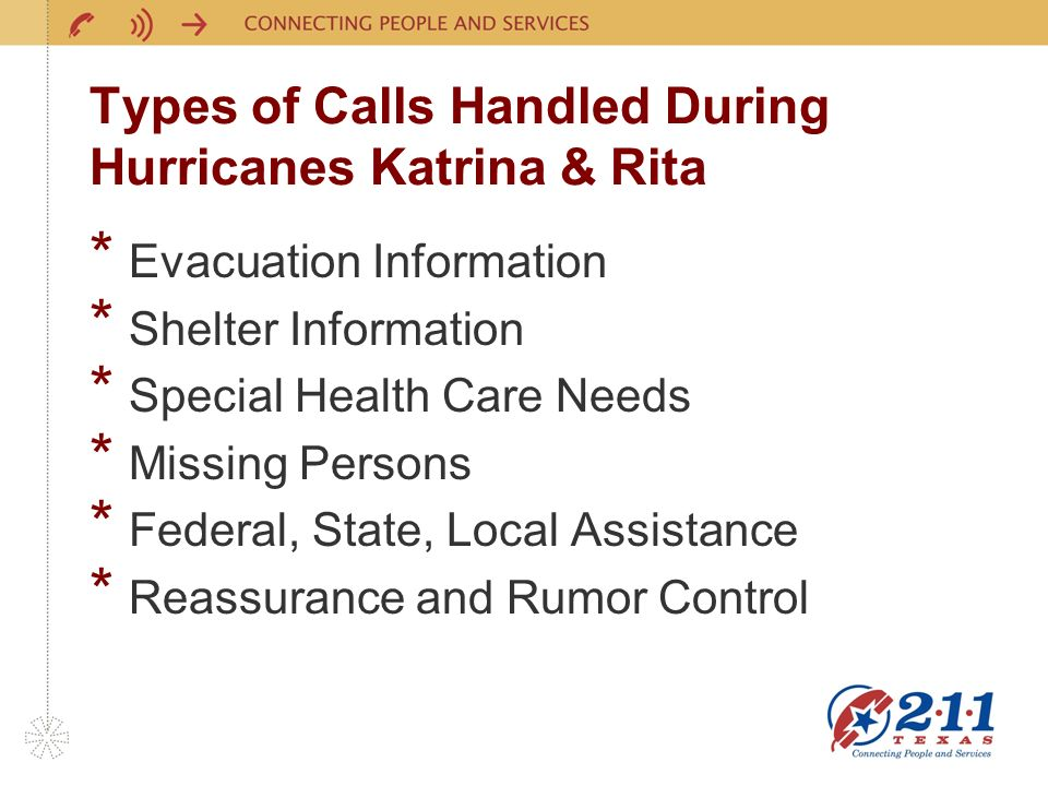 Types of Calls Handled During Hurricanes Katrina & Rita * Evacuation Information * Shelter Information * Special Health Care Needs * Missing Persons * Federal, State, Local Assistance * Reassurance and Rumor Control
