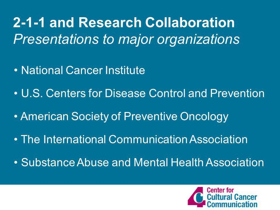 2-1-1 and Research Collaboration Presentations to major organizations National Cancer Institute U.S.