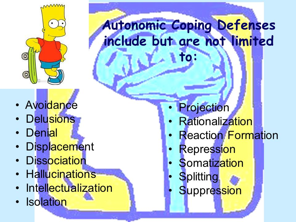 Autonomic Coping Defenses include but are not limited to: Avoidance Delusions Denial Displacement Dissociation Hallucinations Intellectualization Isol