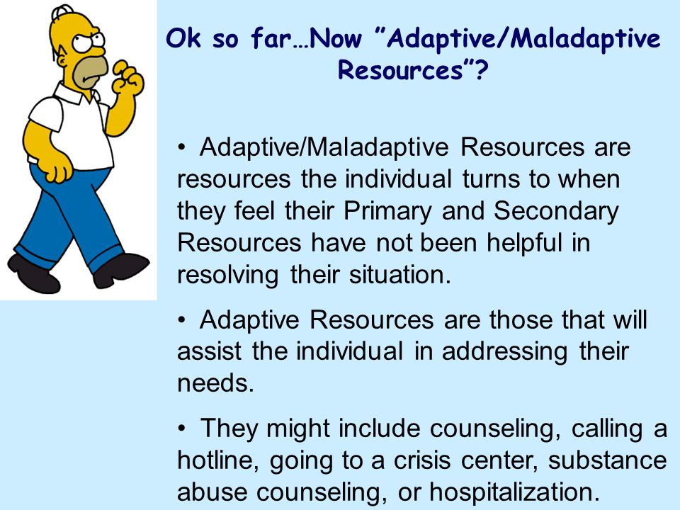 Ok so far…Now Adaptive/Maladaptive Resources? Adaptive/Maladaptive Resources are resources the individual turns to when they feel their Primary and Se