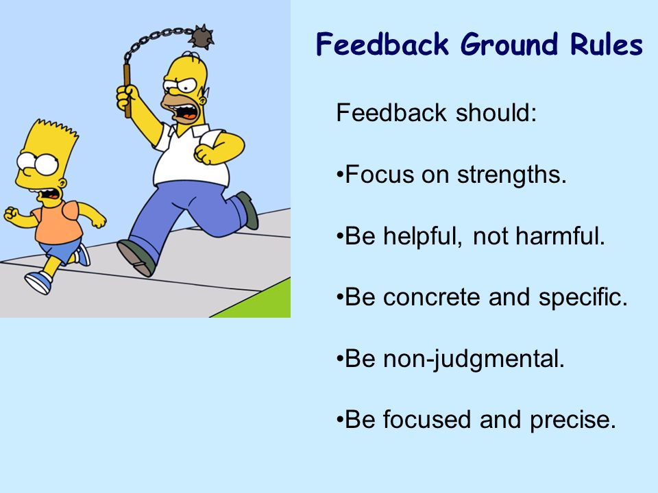 Feedback Ground Rules Feedback should: Focus on strengths. Be helpful, not harmful. Be concrete and specific. Be non-judgmental. Be focused and precis