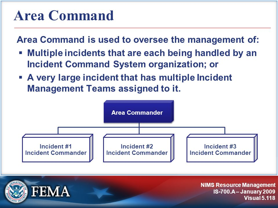NIMS Resource Management IS-700.A – January 2009 Visual 5.118 Area Command Area Command is used to oversee the management of: Multiple incidents that