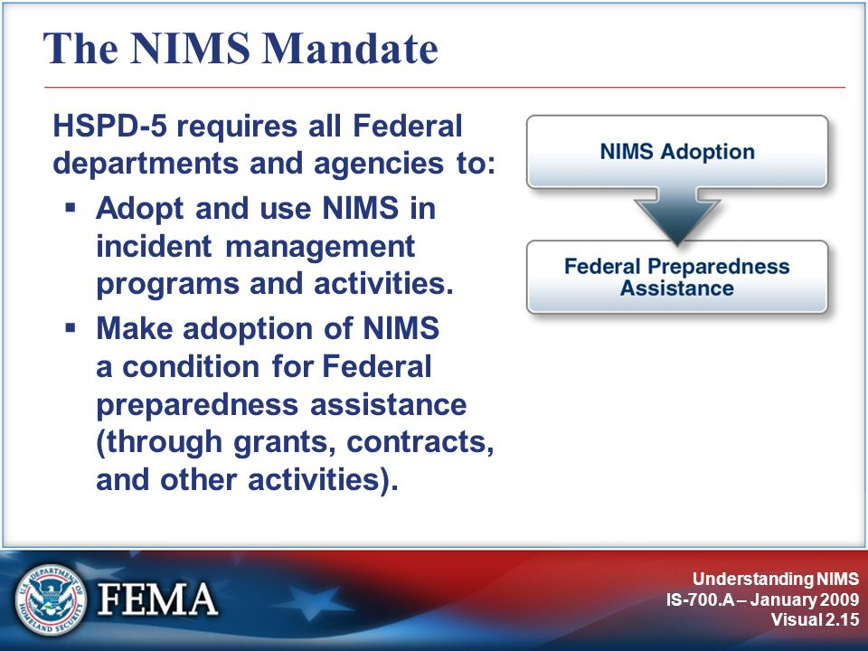 Understanding NIMS IS-700.A – January 2009 Visual 2.15 The NIMS Mandate HSPD-5 requires all Federal departments and agencies to: Adopt and use NIMS in