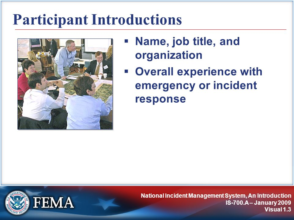 National Incident Management System, An Introduction IS-700.A – January 2009 Visual 1.3 Participant Introductions Name, job title, and organization Ov