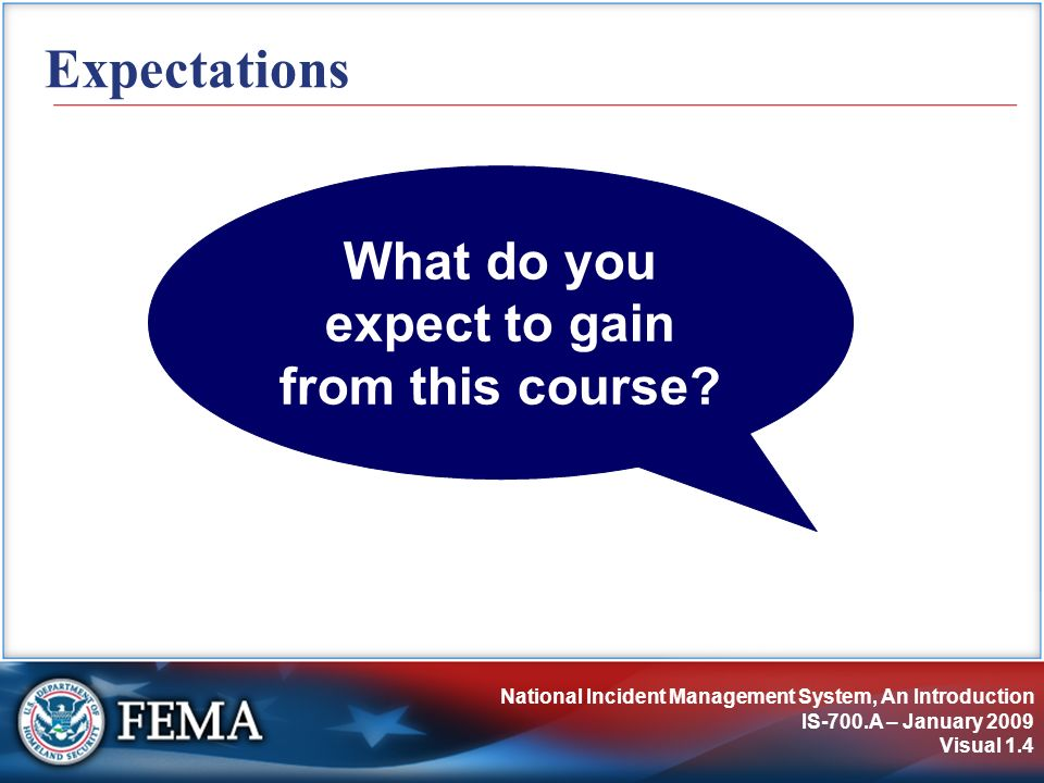 Understanding NIMS IS-700.A – January 2009 Visual 2.15 The NIMS Mandate HSPD-5 requires all Federal departments and agencies to: Adopt and use NIMS in incident management programs and activities.