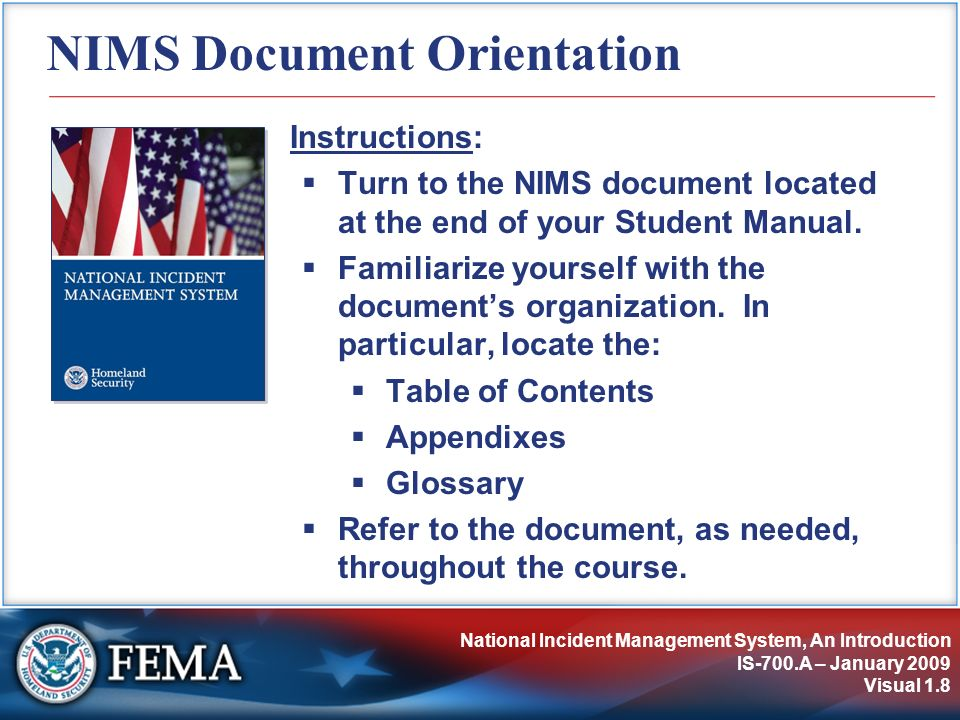 NIMS Resource Management IS-700.A – January 2009 Visual 5.119 Area Command: Primary Functions Provide agency or jurisdictional authority for assigned incidents.
