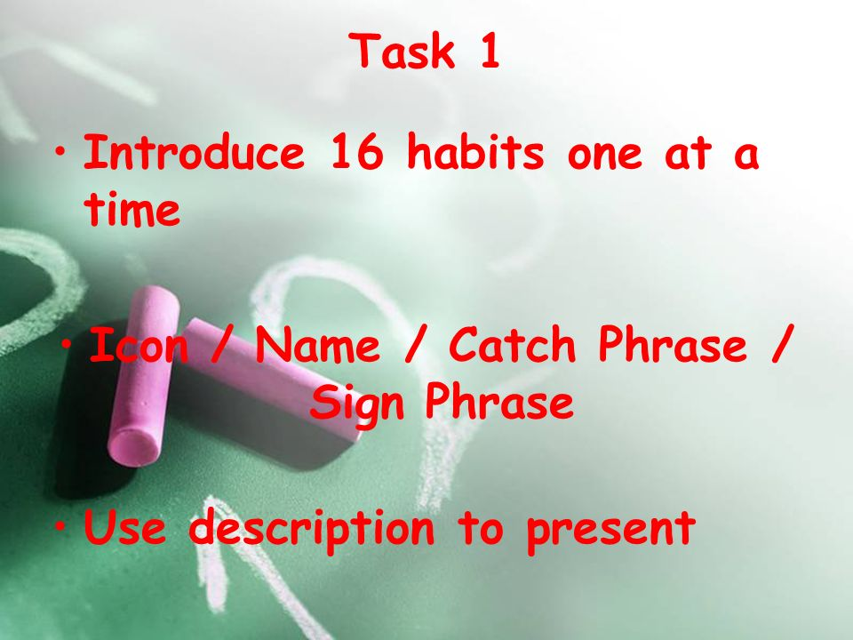 Task 1 Introduce 16 habits one at a time Icon / Name / Catch Phrase / Sign Phrase Use description to present