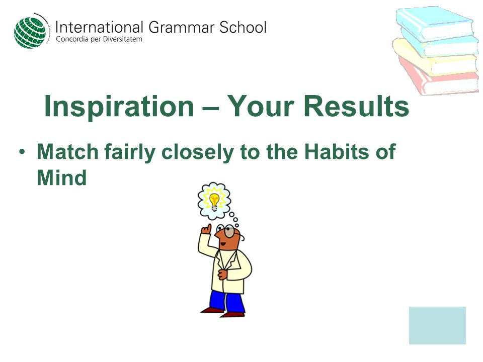 Inspiration – Your Results Match fairly closely to the Habits of Mind