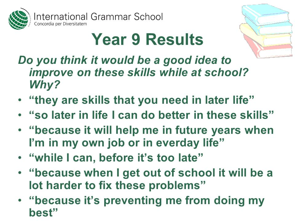 Year 9 Results Do you think it would be a good idea to improve on these skills while at school? Why? they are skills that you need in later life so la