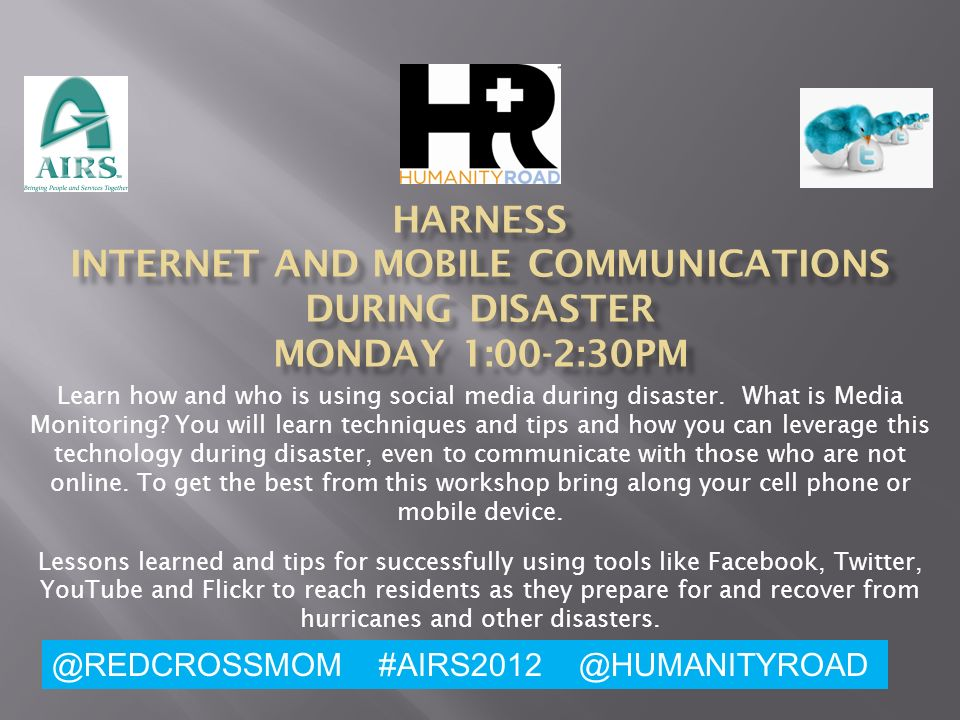 Learn how and who is using social media during disaster.