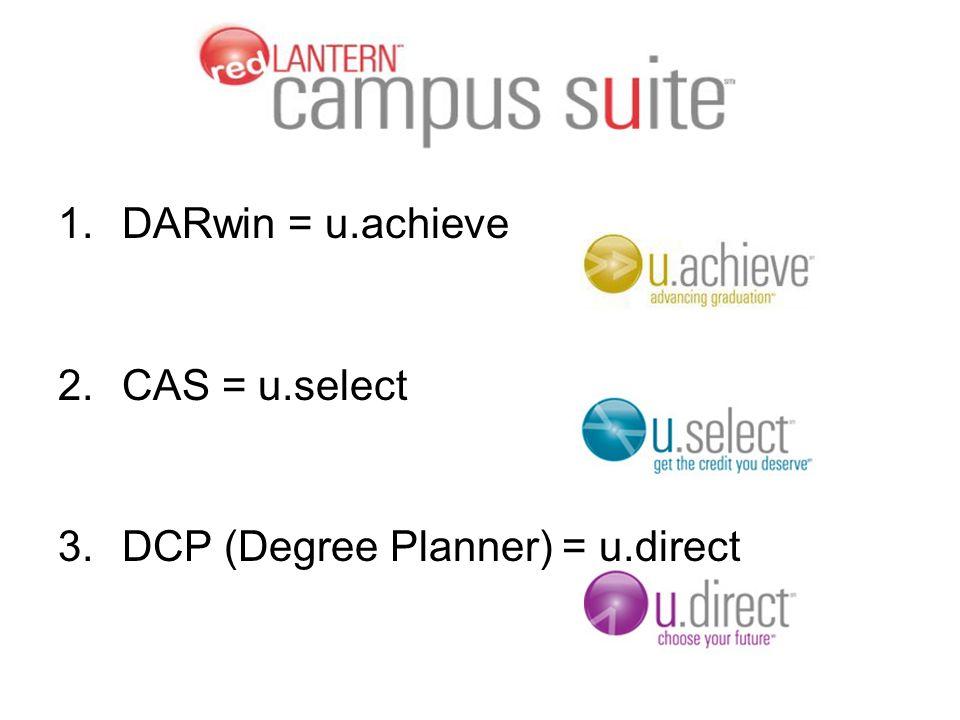 1.DARwin = u.achieve 2.CAS = u.select 3.DCP (Degree Planner) = u.direct