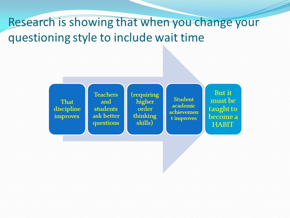Research is showing that when you change your questioning style to include wait time That discipline improves Teachers and students ask better questio