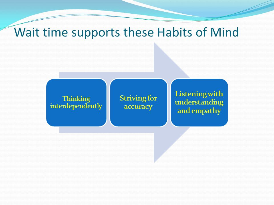 Wait time supports these Habits of Mind Thinking interdependently Striving for accuracy Listening with understanding and empathy