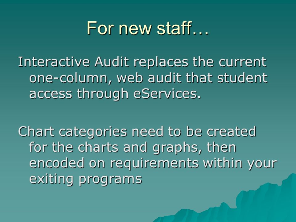 For new staff… Interactive Audit replaces the current one-column, web audit that student access through eServices.