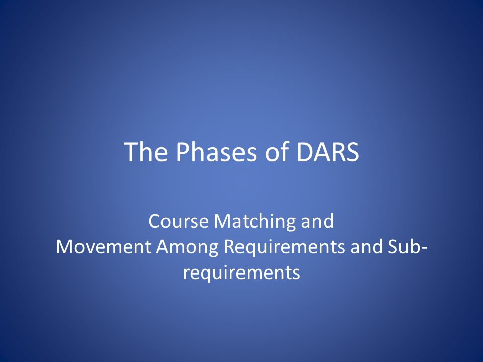 The Phases of DARS Course Matching and Movement Among Requirements and Sub- requirements