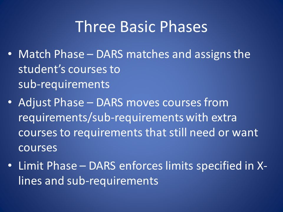 Three Basic Phases Match Phase – DARS matches and assigns the students courses to sub-requirements Adjust Phase – DARS moves courses from requirements/sub-requirements with extra courses to requirements that still need or want courses Limit Phase – DARS enforces limits specified in X- lines and sub-requirements