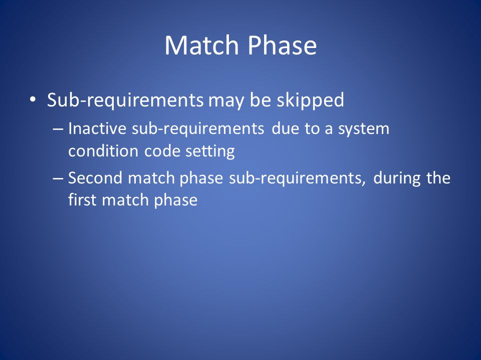 Courses Assigned To First matching sub-requirement in a requirement with blank group codes First matching sub-requirement in the first requirement with a specific group code Any matching sub-requirement with REUSE