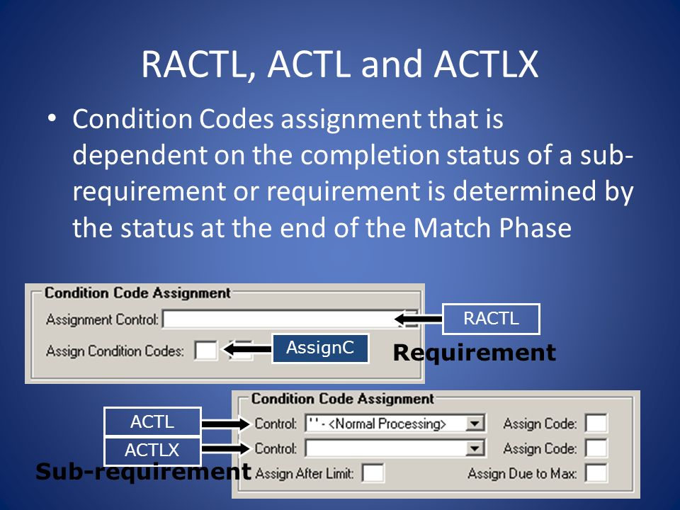 RACTL, ACTL and ACTLX Condition Codes assignment that is dependent on the completion status of a sub- requirement or requirement is determined by the status at the end of the Match Phase ACTL ACTLX RACTLAssignC Requirement Sub-requirement