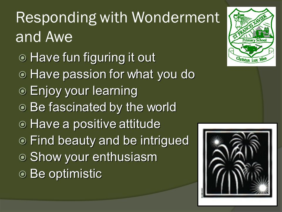 Responding with Wonderment and Awe Have fun figuring it out Have fun figuring it out Have passion for what you do Have passion for what you do Enjoy your learning Enjoy your learning Be fascinated by the world Be fascinated by the world Have a positive attitude Have a positive attitude Find beauty and be intrigued Find beauty and be intrigued Show your enthusiasm Show your enthusiasm Be optimistic Be optimistic