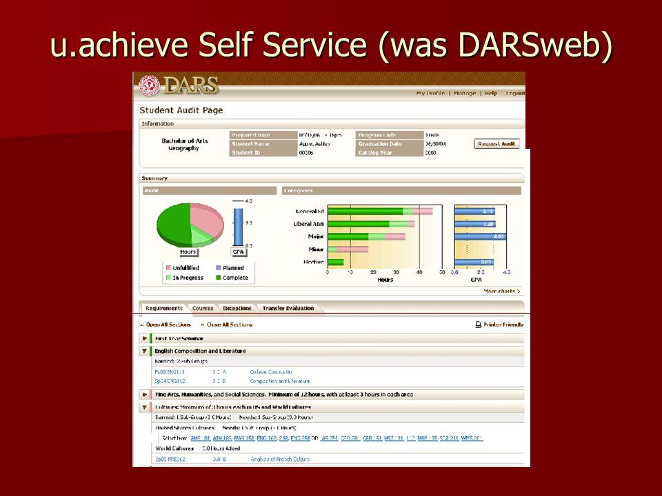 u.achieve Self Service (was DARSweb)