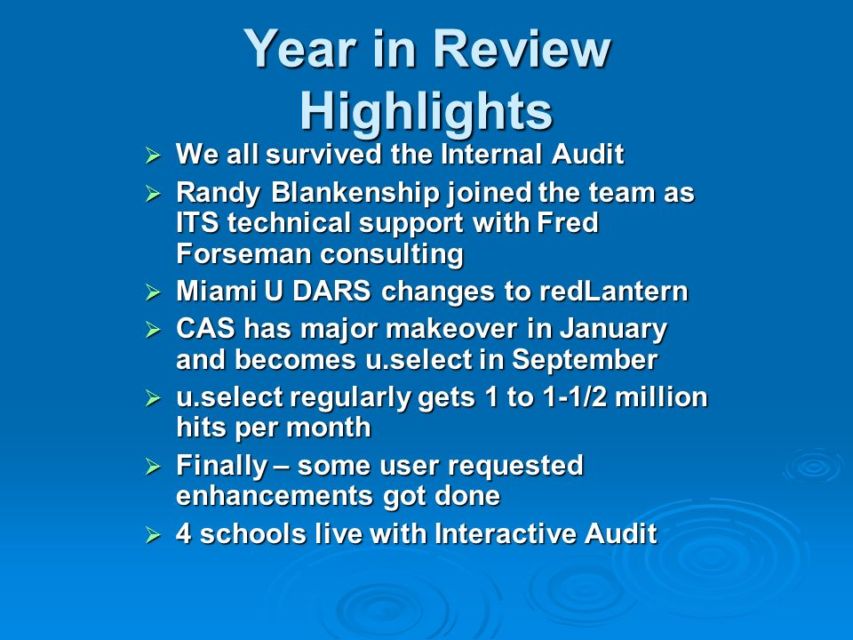 Year in Review Highlights We all survived the Internal Audit We all survived the Internal Audit Randy Blankenship joined the team as ITS technical sup