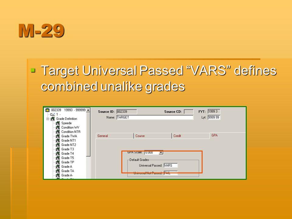 M-29 Target Universal Passed VARS defines combined unalike grades Target Universal Passed VARS defines combined unalike grades