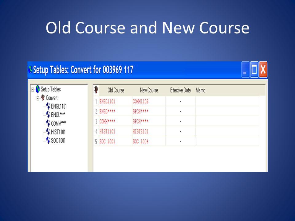 COURSE vs XCOURSE HIST1101 to HIST3101