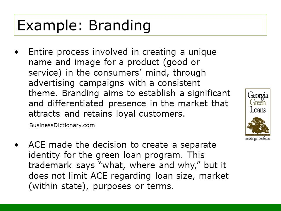Entire process involved in creating a unique name and image for a product (good or service) in the consumers mind, through advertising campaigns with a consistent theme.