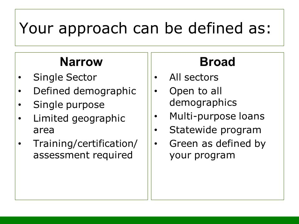Your approach can be defined as: Narrow Single Sector Defined demographic Single purpose Limited geographic area Training/certification/ assessment required Broad All sectors Open to all demographics Multi-purpose loans Statewide program Green as defined by your program
