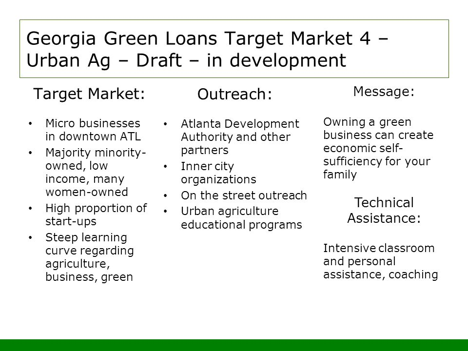 Georgia Green Loans Target Market 4 – Urban Ag – Draft – in development Target Market: Micro businesses in downtown ATL Majority minority- owned, low income, many women-owned High proportion of start-ups Steep learning curve regarding agriculture, business, green Outreach: Atlanta Development Authority and other partners Inner city organizations On the street outreach Urban agriculture educational programs Message: Owning a green business can create economic self- sufficiency for your family Technical Assistance: Intensive classroom and personal assistance, coaching