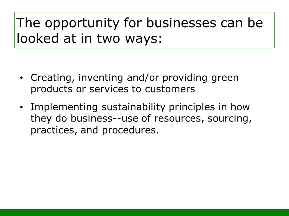 Creating, inventing and/or providing green products or services to customers Implementing sustainability principles in how they do business--use of resources, sourcing, practices, and procedures.